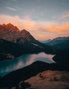 lake in the mountains at dusk