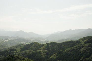 landscape with misty hills in distance
