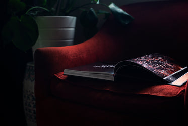 large coffee table book on a red sofa chair