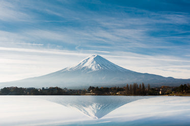 large snow capped mountain reflected in still lake