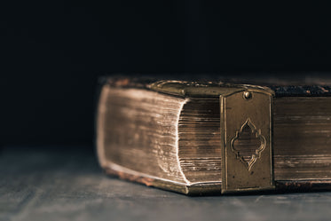 leatherbound book shut by a metal clasp