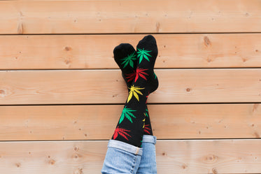 legs crossed hemp leaf socks