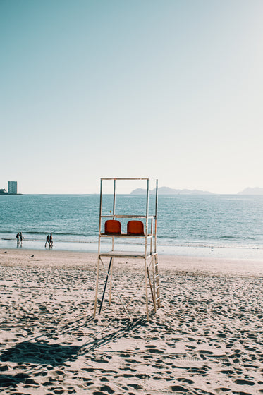 lifeguard chair on an empty beach