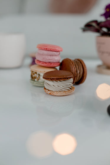 light leaks and colorful macarons