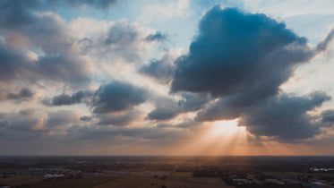 light rays leaking through athick clouds
