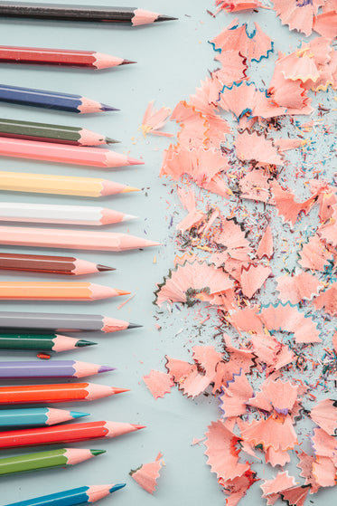 line of pencils and shavings