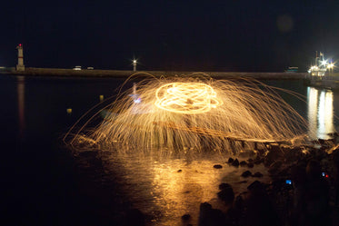 long exposure of fireworks exploding at night