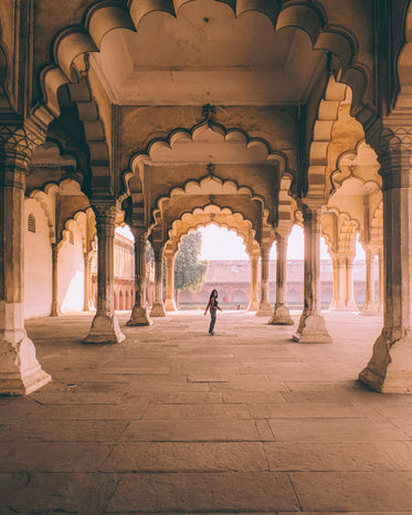 looking back through arches in india