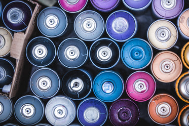 looking down at spray cans