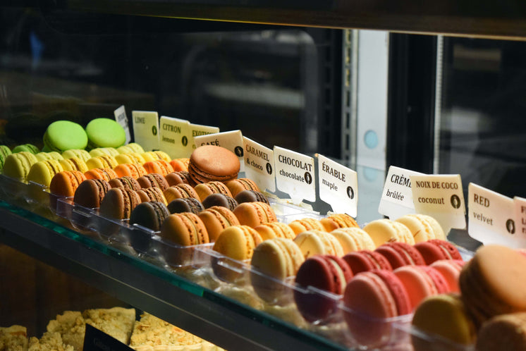Macarons On Display At Bakery