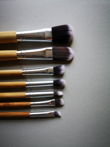 make-up brushes in a line