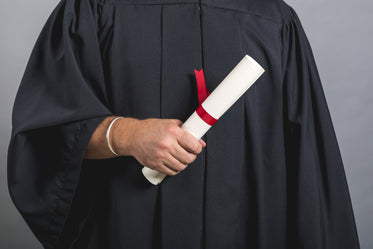 male student in gown holding diploma