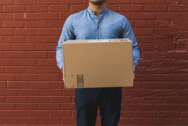 man holding shipping box on red brick