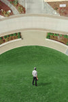 man stood in garden with vertical landscape ahead