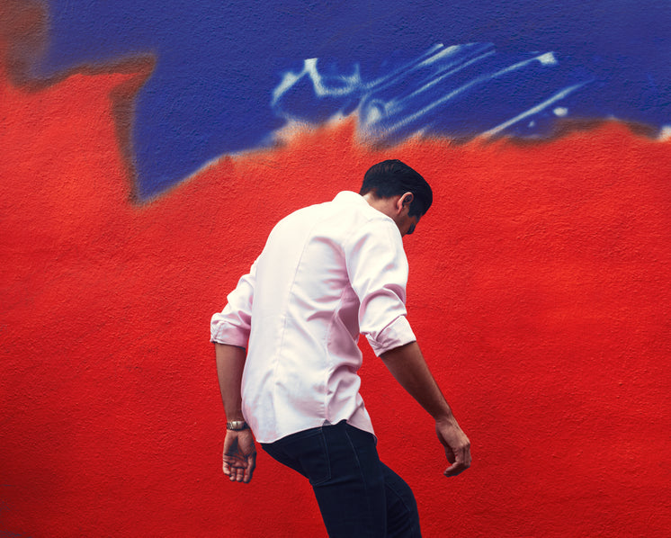 Mens Fashion Near Blue And Red Wall