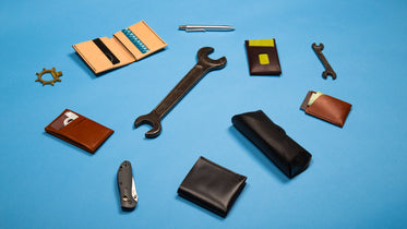 mixture of tools and leather goods
