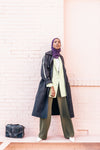 model in spring style longline jacket and pastel blazer