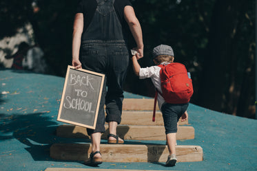 mother and son back to school