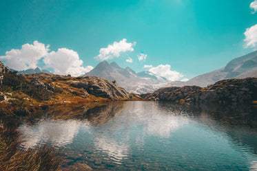 mountains and crystal clear water