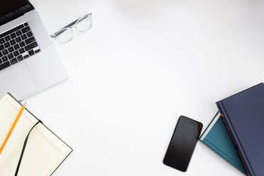 office work tools on the white desk