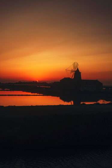 old mill at sunset