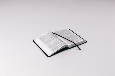 open bible on white background