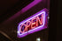 open neon sign at night