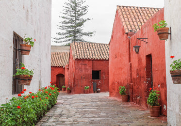 orange buildings with a terracotta roof