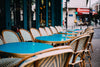 outdoor teal cafe tables