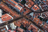 overhead view from drone of curved lisbon streets