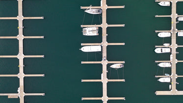 overhead view of marina