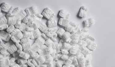 packing peanuts on white table