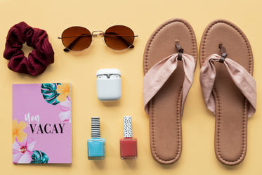 packing sunglasses and cosmetics for a holiday