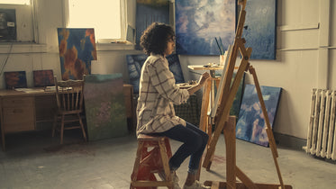 painter working in studio