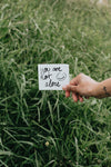 paper reads you are not alone against tall grass