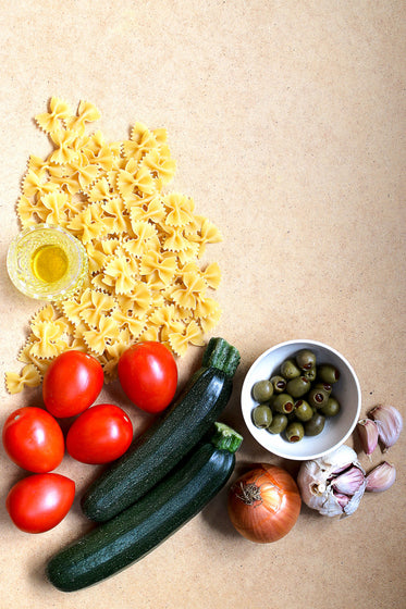 pasta ingredients kitchen prep