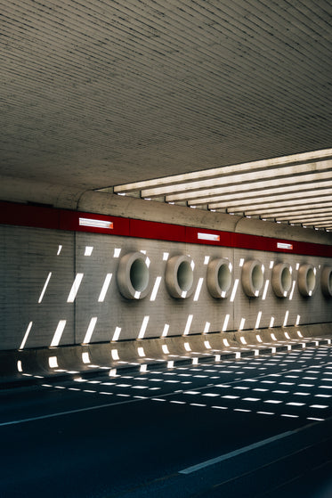 patterned tunnels on the concrete wall