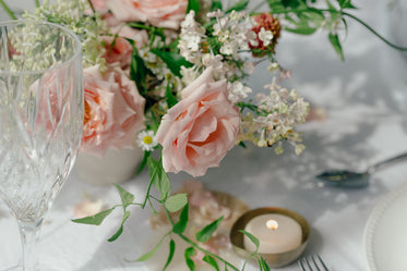 peach roses on table