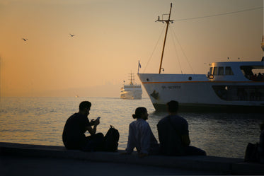 people silhouetted while watching ships pass at sunset