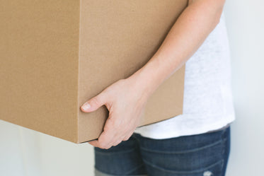 person holding box