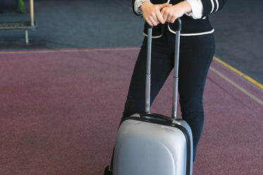 person holding suitcase
