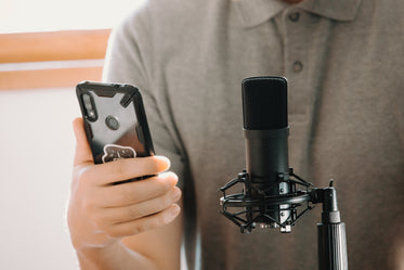 person in front of microphone holding their cell phone