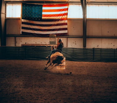 person rides a horse around a sharp turn indoors