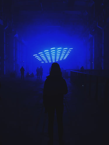 person standing in dim blue room