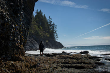 Person Stands Facing The Wild Waves On A Rocky Shore