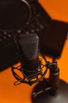photo of a black recording microphone