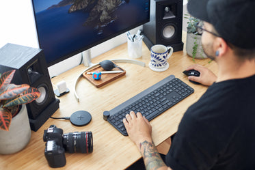 photographer working at his desk