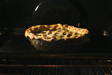 pie baking in oven