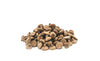 pile of chocolate chips on white background