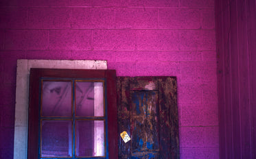 pink light on windows and doors